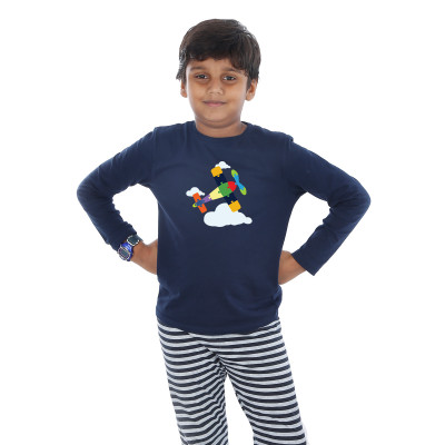 Blue Full Sleeve Boys Pyjama - Aeroplane