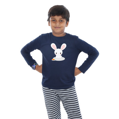 Blue Full Sleeve Boys Pyjama - Bunny Rabbit