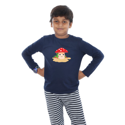 Blue Full Sleeve Boys Pyjama - Buttons