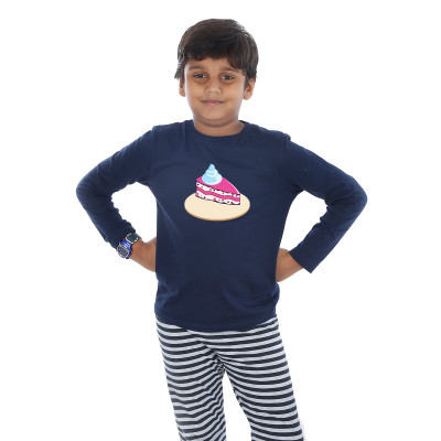 Blue Full Sleeve Boys Pyjama - Cake