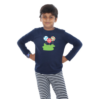 Blue Full Sleeve Boys Pyjama - Candy Sticks