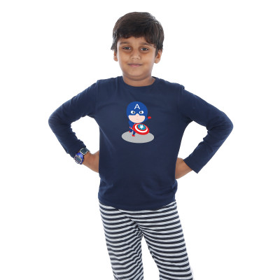 Blue Full Sleeve Boys Pyjama - Captain America