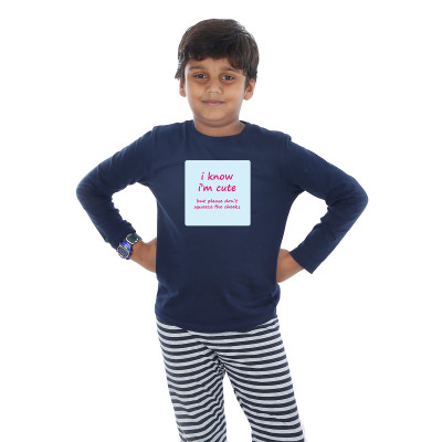 Blue Full Sleeve Boys Pyjama - Cheeky Quote