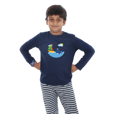 Blue Full Sleeve Boys Pyjama - Dolphy
