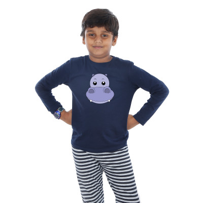 Blue Full Sleeve Boys Pyjama - Hippo Boy