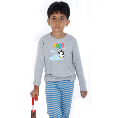 Grey Full Sleeve Boys Pyjama - Baby Balloons