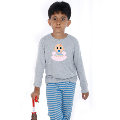 Grey Full Sleeve Boys Pyjama - Baby boo