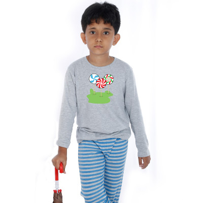Grey Full Sleeve Boys Pyjama - Candy Stick