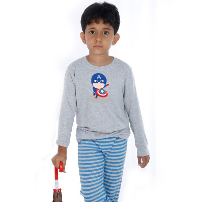Grey Full Sleeve Boys Pyjama - Captain America