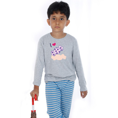 Grey Full Sleeve Boys Pyjama - Chocky