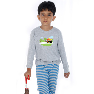 Grey Full Sleeve Boys Pyjama - Digger