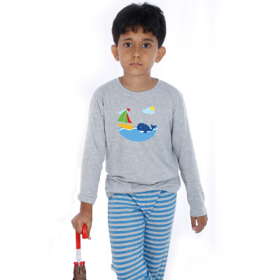 Grey Full Sleeve Boys Pyjama - Dolphy
