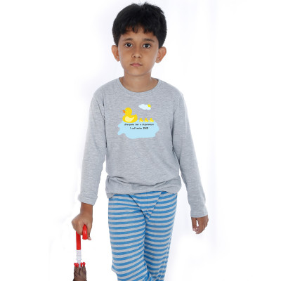 Grey Full Sleeve Boys Pyjama - Duck Dad