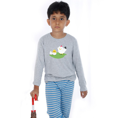 Grey Full Sleeve Boys Pyjama - Eggy
