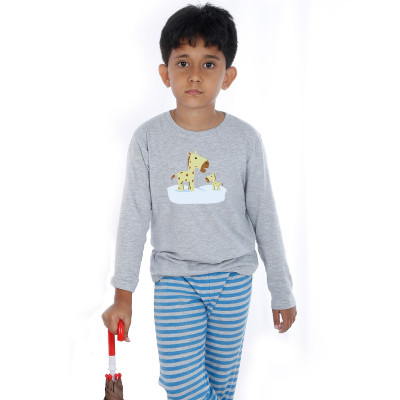 Grey Full Sleeve Boys Pyjama - Giraffe