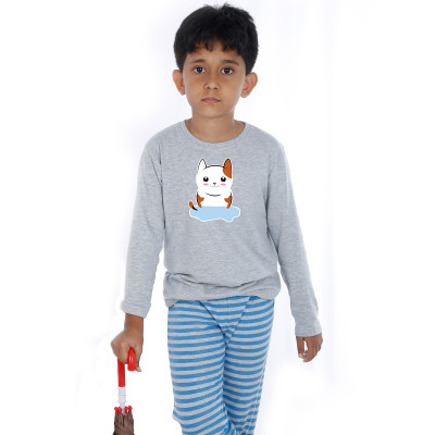 Grey Full Sleeve Boys Pyjama - Kitty