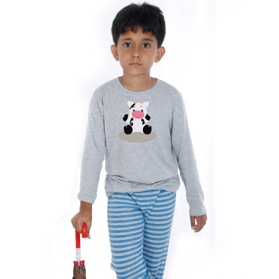 Grey Full Sleeve Boys Pyjama - Little Moo