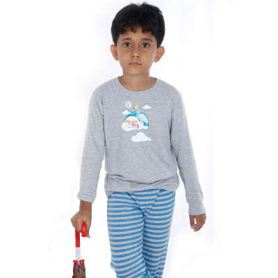 Grey Full Sleeve Boys Pyjama - Dream Big