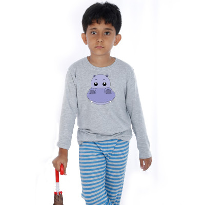 Grey Full Sleeve Boys Pyjama - Hippo Boy