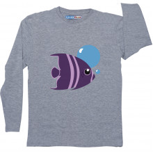 Grey Full Sleeve Boys Pyjama - Fish