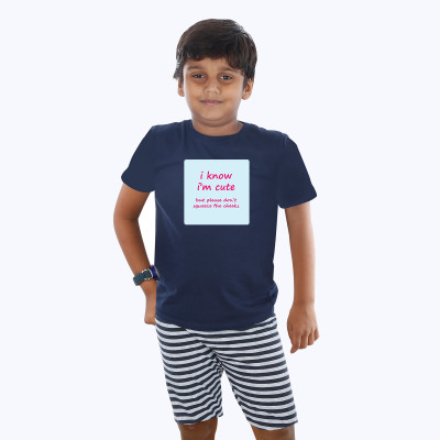 Blue Half sleeve Boys Pyjama - Cheeky Quotes