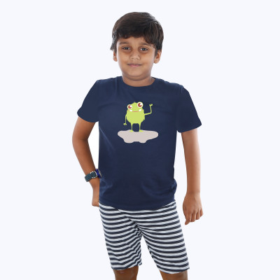 Blue Half sleeve Boys Pyjama - Toad