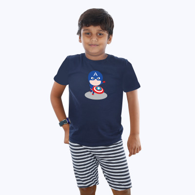 Blue Half sleeve Boys Pyjama - Caption America
