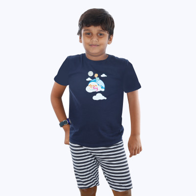 Blue Half sleeve Boys Pyjama- Dream Big