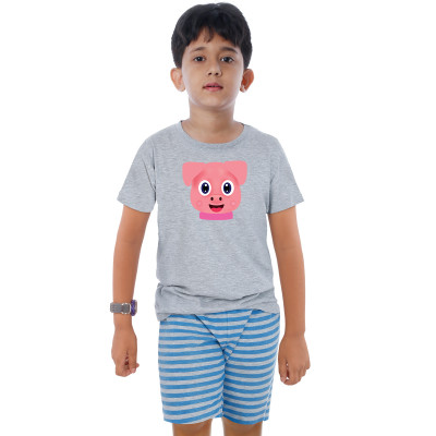 Grey Half Sleeve Boys Pyjama - Brownie
