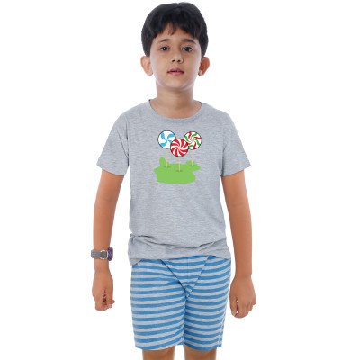 Grey Half Sleeve Boys Pyjama - Candy Stick