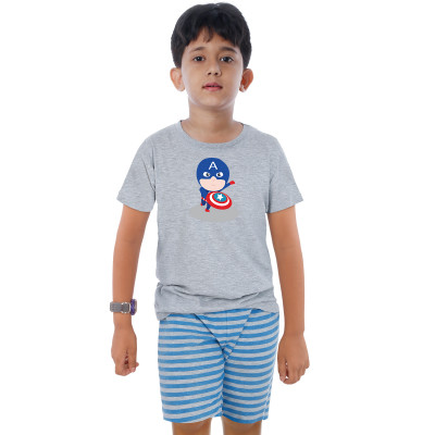 Grey Half Sleeve Boys Pyjama - Captain America
