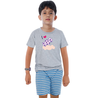Grey Half Sleeve Boys Pyjama - Chocky