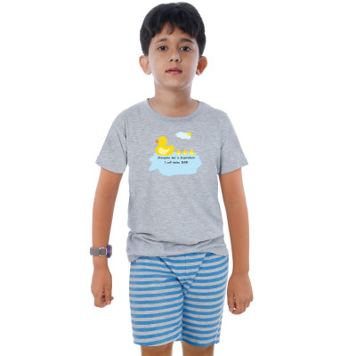 Grey Half Sleeve Boys Pyjama - Duck Dad