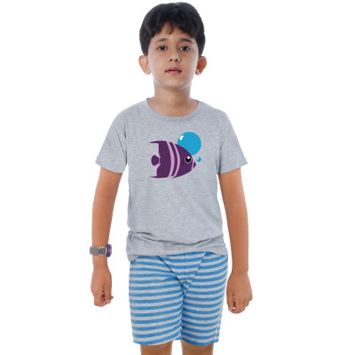 Grey Half Sleeve Boys Pyjama - Fish