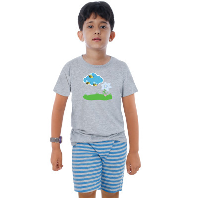 Grey Half Sleeve Boys Pyjama - Honey Bee
