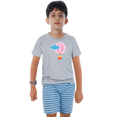 Grey Half Sleeve Boys Pyjama - Hot Air Balloon