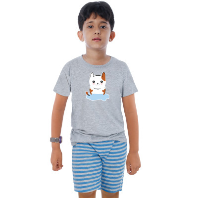 Grey Half Sleeve Boys Pyjama - Kitty