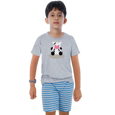 Grey Half Sleeve Boys Pyjama - Little Moo