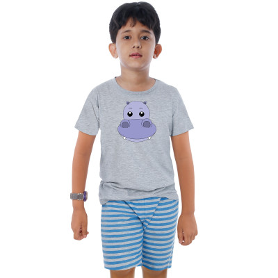 Grey Half Sleeve Boys Pyjama - Hippo Boy