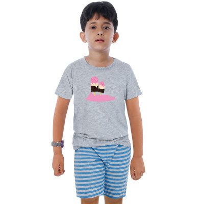 Grey Half Sleeve Boys Pyjama - Ice Cream