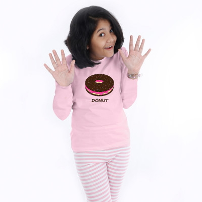 Pink Full Sleeve Girls Pyjama - Donut