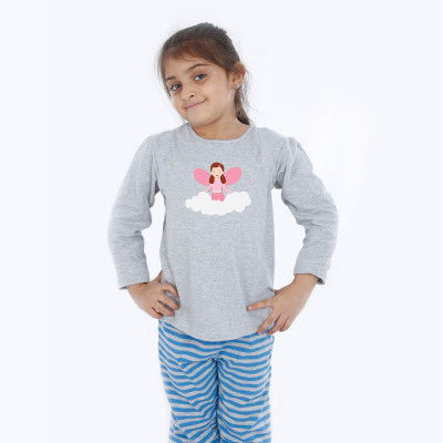 Grey Full Sleeve Girls Pyjama - Angel