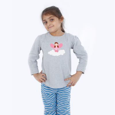 Grey Full Sleeve Girls Pyjama - Angel