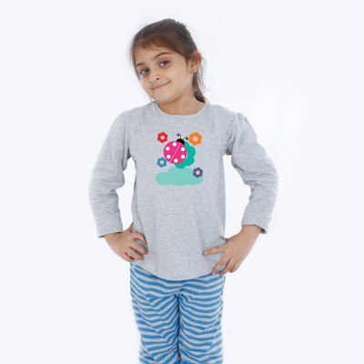 Grey Full Sleeve Girls Pyjama - Lady Bug