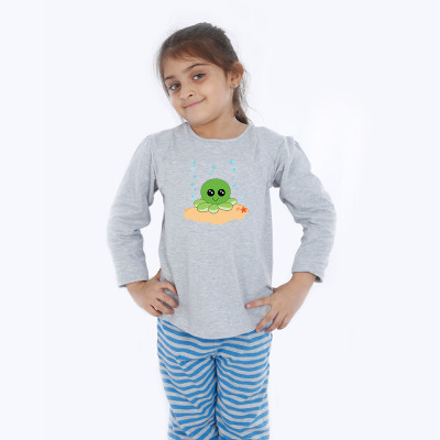 Grey Full Sleeve Girls Pyjama - Octopus