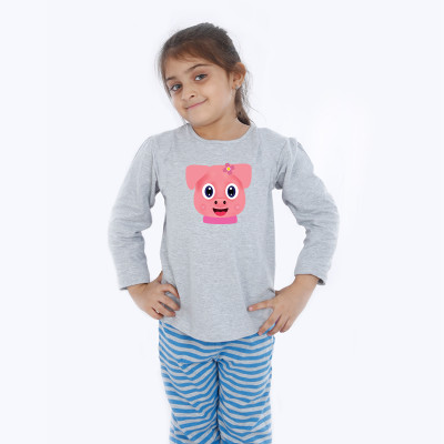 Grey Full Sleeve Girls Pyjama - Brownie