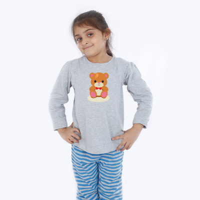 Grey Full Sleeve Girls Pyjama - Teddy