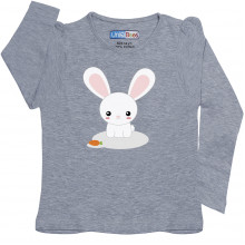 Grey Full Sleeve Girls Pyjama - Bunny