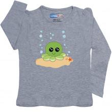 Grey Full Sleeve Girls Pyjama - Octopus