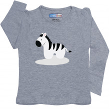 Grey Full Sleeve Girls Pyjama - Zebra